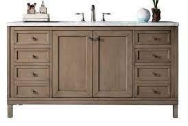 60 Chicago Whitewashed Walnut Single Sink Bathroom Vanity