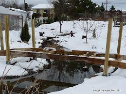 garden bridge build cedar footbridge