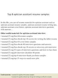 Resume Optician Resume