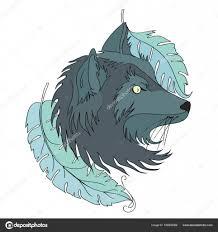 головы волка или собака татуировка векторные иллюстрации