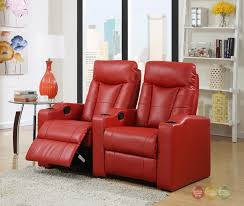 red bonded leather home theater seating row of 2 chairs w cupholders