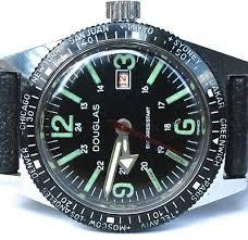 VINTAGE NEW OLD Stock Mens Douglas Diver Watch Big Arrow Tropical ...