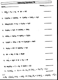 chemical word equations worksheet