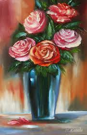 oil painting red rose painting art contemporary