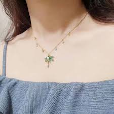 swarovski lime palm tree pendant chain necklace yellow gold plated colorful crystals travel girls dubai 5375301