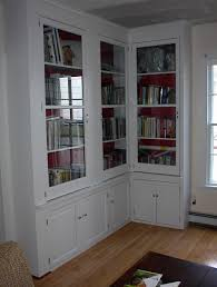 Tall Living Room Cabinets Furniture Tall L Shaped White Stained Mahogany Wood Bookcase With