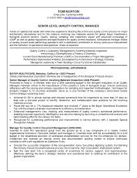 Brilliant Ideas Of Quality Control Manager Resume Sample About