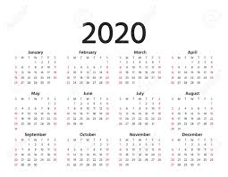 Calendar Yearly 2020 Calendar 2020 In Simple Style Vector Stationery 2020 Year Template