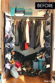 organizing with style organized coat closet makeover blue i ideas door