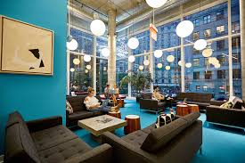Chelsea office space lounge San Francisco Interior Design Coworking Office Space In Midtown Herald Square The Yard