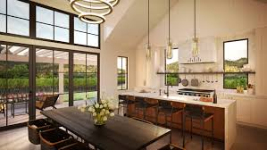 rendering of open concept residence kitchen and greatroom under tall sloped ceiling windows