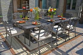 serena luxury 8 person all welded cast aluminum patio furniture dining set w stationary chairs