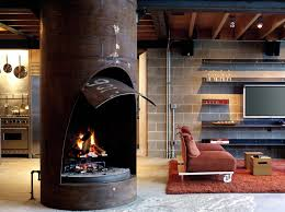 Like the industrial fireplace and the contrast with the cement block wall.