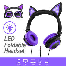 Cat 2 Led Lighting Details About Wired Girls Kids Foldable Cat Ear Led Light Headphones Headsets Earphones 3 5mm