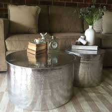 silver drum coffee table monumental manila hammered barrel project