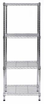 muscle rack 4 tier slim wire shelving unit silver