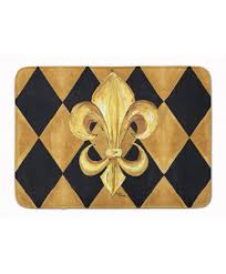 black and gold fleur de lis new orleans machine washable memory foam mat 2oid6b3qf