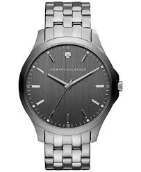 a x armani exchange men s diamond accent gunmetal ion plated a x armani exchange men s diamond accent gunmetal ion plated stainless steel bracelet watch