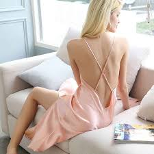 Sexy <b>100</b>% <b>Genuine Silk</b> Women <b>Nightdress Nighty</b> Sleeveless ...