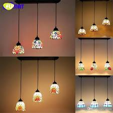 3 lights pendant lamp rectangle base stained glass suspension flower baroque restaurant kitchen hotel project ceiling