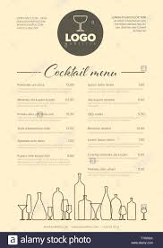 Menu Typography Design Modern Light Brown Minimalistic Cocktail Menu Template With