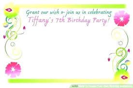 create party invitation create own birthday invitation free lovely create your own birthday