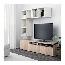 BEST / EKET TV storage combination - white/black-brown/high-gloss/white,  drawer runner, push-open - IKEA