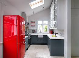 Red Kitchen Stunning Grey And Red Kitchen Idea With White Floor Kitchen