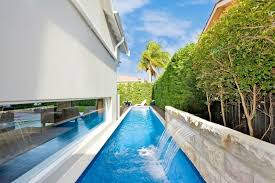 Amazing Private Lap Pool Concept For White Modern House With Sophisticated  Fountain