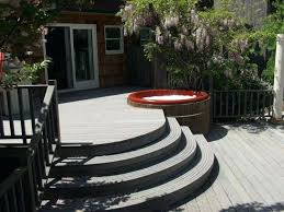 patio designs with fire pit and hot tub. Patio Hot Tub Curved Deck With Designs And Fire Pit .