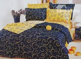 60 yellow swirls pattern luxury style blue cotton 4 piece bedding sets duvet cover
