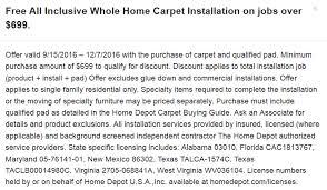 hme depot free carpet installation