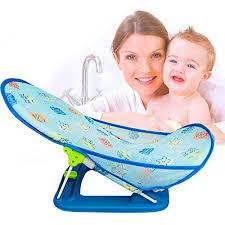 infant adjule bath seat support net bathtub sling shower mesh bathing cradle rings safety blue