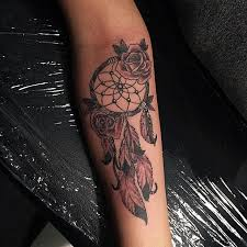 Dream Catcher Tattoo On Forearm Awesome Grey Roses Dreamcatcher Tattoo On Forearm All Tattoos ForMen