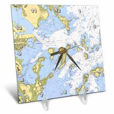 Boston Harbor Chart 3drose Print Of Boston Harbor Nautical Chart Desk Clock 6 By 6 Inch