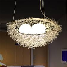 unique bird s nest pendant light hanging lighting ceiling lamp chandelier aluminum pendant lamp g4 bulb milky white glass duck ceiling light edison bulb