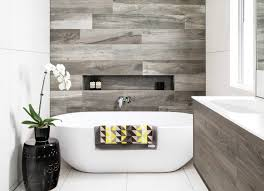 wood effect tiles as feature wall