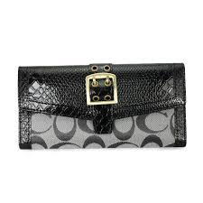 Look hot all season with Coach Madison Embossed Buckle Large Grey Black  Wallets EEQ. Check