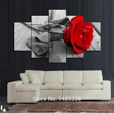 trusted rose wall art 5 panel red canva oil painting home decoration unframed gift h d picture