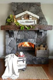 reclaimed wood stencilled sign for a fall mantel