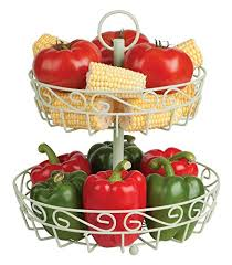 cream 2 tier fruit basket stand with free melon baller a stunning centerpiece for the countertop open fruit metal basket keeps fruit fresher for longer