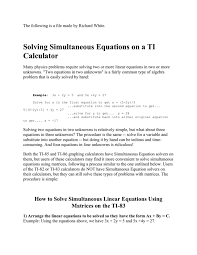 solving simultaneous equations on a ti