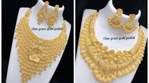 Gold Set Design Dubai 1 Gram Gold Necklace Designs In Heavy Dubai Gold Jewellery Designs