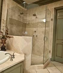 bathroom remodel gray. Modern Small Bathroom Remodel Mixed With Floor Tile And Corner Shower Area Also Gray Wooden Door Flower Vase