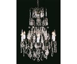 straz six light crystal antique bronze tiered chandelier impex cb00501 06