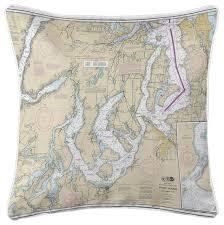 Nautical Chart Pillows Puget Sound Southern Wa Nautical Chart Pillow