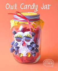 Sweet Jar Decoration Owl candy jar craft with caulk great way to package leftover 2