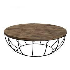 Table basse ronde bois et métal noir 100cm Tinesixe - So Inside