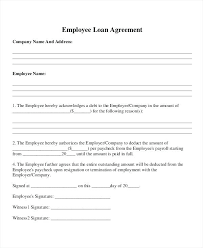 Company Loan To Employee Agreement Informal Loan Agreement Template Metabots Co