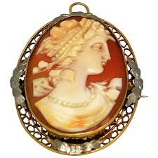 14k yellow and white gold cameo pendant brooch